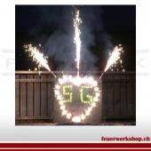 Brennendes Herz mit Initialen (Outdoor - von uns gezündet)
