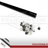 Luftschlangen Shooter 80cm - Metallic Weiss/Silber